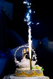 Fireworks and wedding cake Stock Images