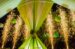 Fireworks at wedding ceremony stock images