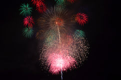 Fireworks. Were spot on at night Royalty Free Stock Photography