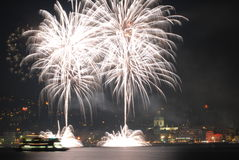 Fireworks in white. White big fireworks over the lake Royalty Free Stock Images