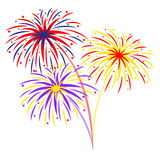 Fireworks on white background,  illustration Stock Image