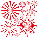 Fireworks on white background. Red fireworks on a white background for decoration Stock Photos