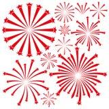 Fireworks on white background. Stock Photos