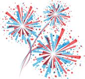 Fireworks in white. Big red and blue fireworks on white background. eps10 Stock Photography