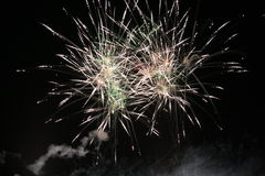 Fireworks. White fireworks on black sky Stock Image