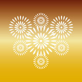 Fireworks white on gold background. Beautiful design for New Year, anniversary celebration and festival Royalty Free Stock Images