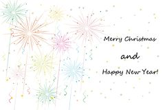 Fireworks. On white. merry xmas and happy new year greeting card. vector eps10 Royalty Free Stock Images