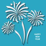 Fireworks. White vector firework with shadows on blue background Royalty Free Stock Photos
