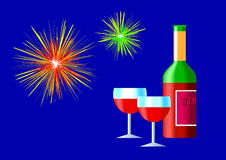 Fireworks with wine Stock Image