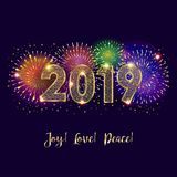 2019 Fireworks Winter Holiday Happy New Year Merry Christmas Decoration. Beautiful Greeting card, Invitation card, Sign `Joy!, Love!, Peace!` lettering. Wishes royalty free illustration