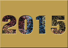 2015 with fireworks within the writing Stock Photos