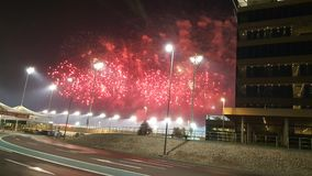 Fireworks at Yas Marina Circuit Red dots and smoke Stock Photography