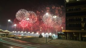 Fireworks at Yas Marina Circuit Red dots and white frills Royalty Free Stock Photo