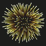 Fireworks yellow on a black background. Yellow fireworks on a black background. Celebration, show, boom, isolated objects, vector illustration Stock Photo