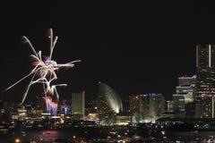 Fireworks in Yokohama port festival at Japan Royalty Free Stock Photo
