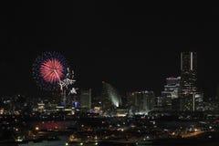 Fireworks in Yokohama port festival at Japan Royalty Free Stock Images