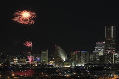 Fireworks in Yokohama port festival at Japan Stock Photo