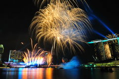 Fireworks during Youth Olympic Games 2010 Opening Stock Photography