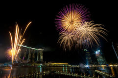 Fireworks at Youth Olympic Games Opening (3). Fireworks display at the Opening Ceremony of the inaugural Youth Olympic Games in Singapore Royalty Free Stock Photos