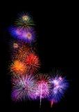 fireworksalphabet colorido l ISO colorida hermosa del fuego artificial Foto de archivo libre de regalías