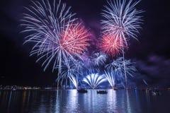 Fireworksin em Ponte Tresa Foto de Stock Royalty Free