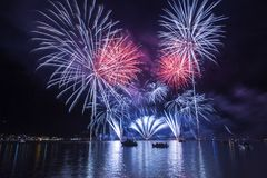 Fireworksin in Ponte Tresa Fotografia Stock Libera da Diritti