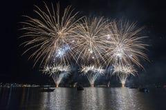 Fireworksin in Ponte Tresa Fotografia Stock