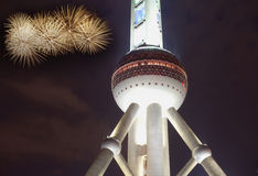 Firewrok over shanghai oriental pearl tower Stock Images