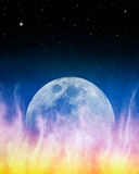 Firey Blue Moonrise Royalty Free Stock Photos