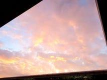 Firey clouded sky in irregular box Stock Photo