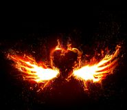 Firey Love. A illustrated background with a heart with wings on fire, on a black background Stock Image