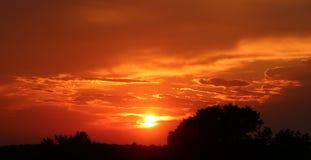 Firey röd solnedgång i Kroatien 2 Royaltyfria Bilder
