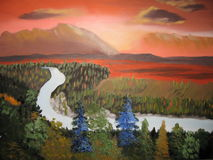 Firey skies. A painting of the earth at its beautiful self Royalty Free Stock Images