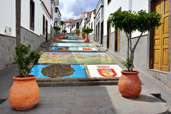 Firgas, Paseo de Canarias. The Paseo de Canarias with representations of the 7 Canary Islands carved into the ground, with their respective heraldic shields and Royalty Free Stock Photos