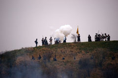 Firing cannon, Battle of Three Emperors, Austerlitz, Tvarozna Stock Image
