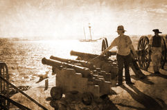 Firing the cannon Royalty Free Stock Images