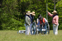 Firing a cannon at a War of 1812 re-enactment Royalty Free Stock Photography