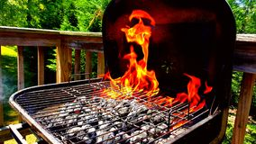 Firing the grill up on a Sunday Stock Photos
