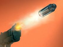 Firing gun. Handgun firing a bullet. Digital illustration Royalty Free Stock Photos