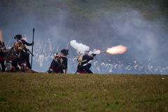 Firing history fan in military costume, Austerlitz Stock Images