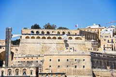 Firing the Noon Gun, Valletta, Malta. Stock Photo
