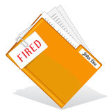 Firing. Orange folder with clipped paper note about firing Stock Photography