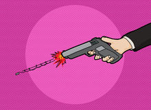Firing a Pistol. Cartoon with fast moving bullet Royalty Free Stock Photo