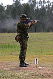 Firing point number 7. A Royal Marine takes careful aim on a range in Australia stock images