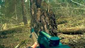 Firing from a rifle from the first person.  stock footage