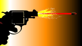 Firing Snub Nose Revolver. A snub nose revolver pistol firing with muzzle flash and speeding bullet Royalty Free Stock Photo