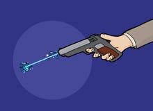 Firing a Squirt Gun. Cartoon of water shooting from a squirt gun Stock Photo