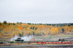 Firing from tank machine gun Royalty Free Stock Photo