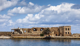 Firkas Fortress remains in Chania hatbor, Crete. In Greece stock images