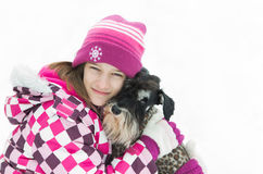 Firl and dog Royalty Free Stock Image